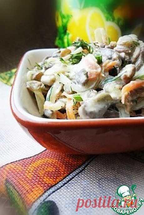 Салат с куриными сердечками, чечевицей и овощами - кулинарный рецепт