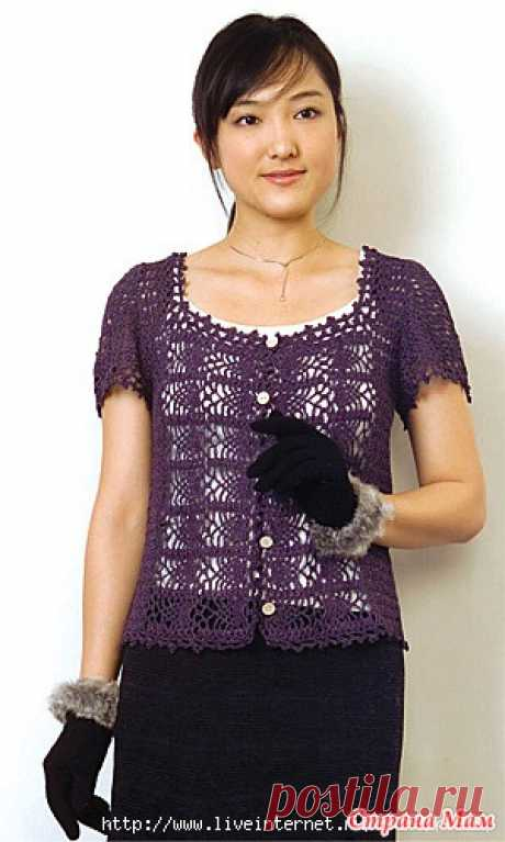 * Stylish jackets at the slightest pretext - All in openwork... (knitting by a hook) - the Country of Mothers
