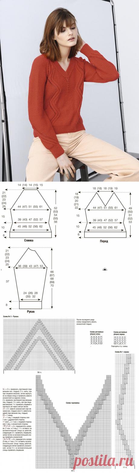 Пуловер с узором из зигзагов — схема вязания спицами с описанием на BurdaStyle.ru