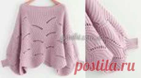 """Роскошный пуловер-пончо нежного цвета """"Пыльная роза"""" - схема вязания спицами"""