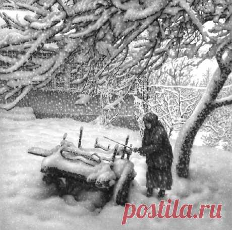 Грузинский художник рисует реалистичные зимние пейзажи простым карандашом