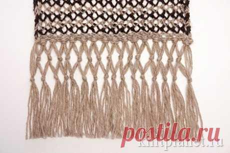 Как связать спицами ажурный шарф с бахромой. Мастер-класс по вязанию шарфа. Подробно с фотографиями. | Планета Вязания