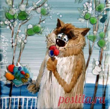Кот этот старый, облезлый и рыжий, Взгляд его кажется немного сонный. Смотрит на пташек в луже - не дышит, Он - не охотник, он в пташек влюблённый.