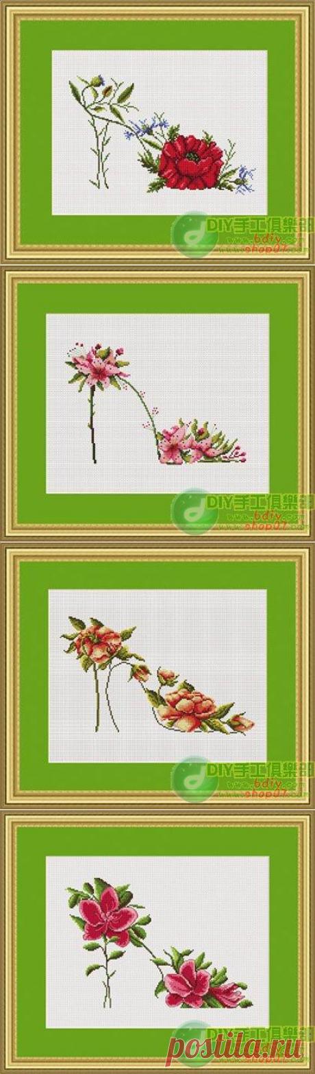 Подборка схем вышивки крестом: цветочные туфельки | ХорошоДома