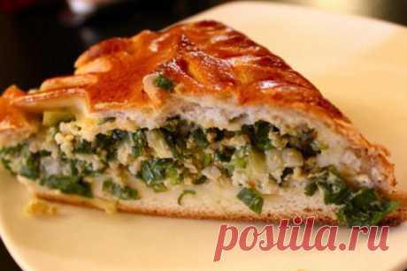 Заливной пирог с зелёным луком и яйцом Хозяйка.ru