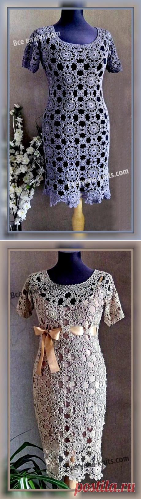 """Эффектное платье """"Ванесса"""" классического силуэта, выполненное из отдельных ажурных мотивов крючком. Описание вязания, схемы мотивов.   Все вяжут.сом/Everyone knits.com  """
