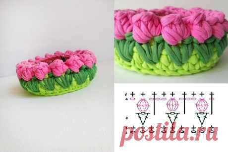 Яркие корзинки с тюльпанами и клубничками - идеи и схемы для вязания крючком | Anna Gri Crochet | Яндекс Дзен