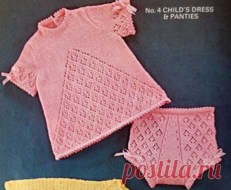 1668d739102e3 vintage knitting pattern for little girls pretty dress and nappy pants with  ribbons fits toddler child