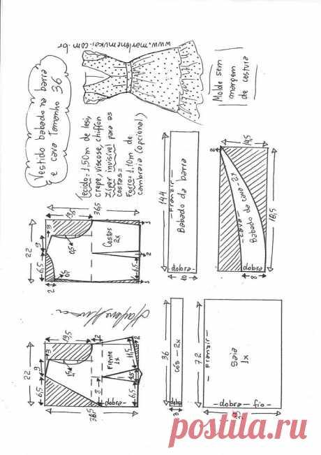 Vestido decote V com babado na cava e barra – Marlene Mukai