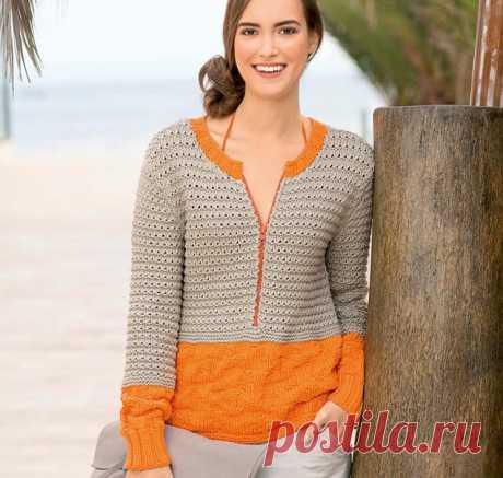 Пуловер 2-в-1 - схема вязания спицами с описанием на Verena.ru