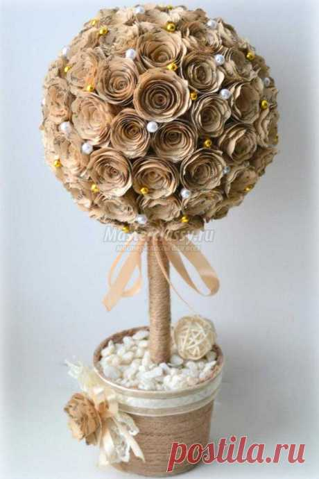 Топиарий из бумажных роз. Мастер-класс с пошаговыми фото