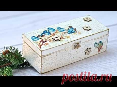 Decoupage  pudełko z ptaszkami - tutorial DIY