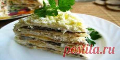Вафельный торт с селедкой и грибами   Кулинария