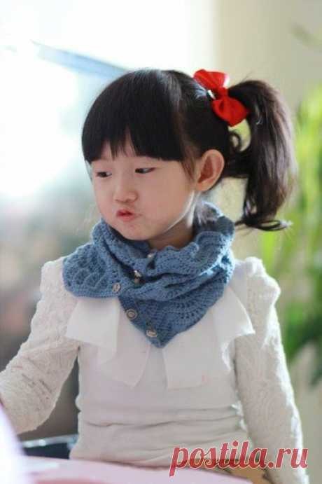 Синий шарф-воротник, стильный аксессуар из категории Интересные идеи – Вязаные идеи, идеи для вязания