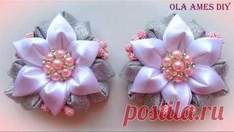 Цветы канзаши из ленты/ Kanzashi Flower tutorial/ Wedding hair accessoire/ Ola ameS DIY