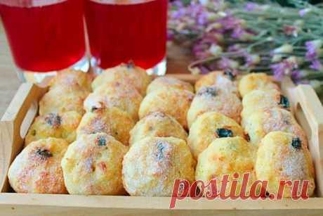 Творожное печенье с изюмом