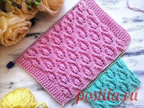 Ажурный весенний узор спицами для вязания джемпера, свитера, кардигана, шапки