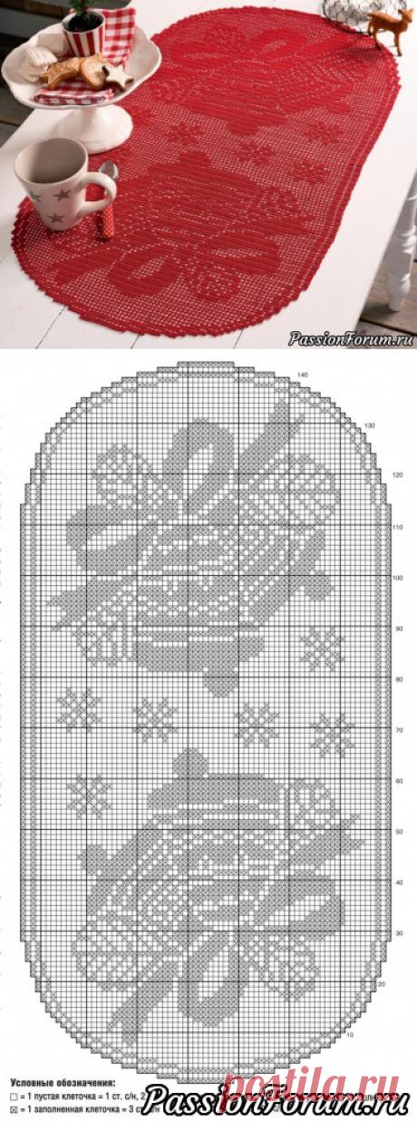 Большая салфетка с колокольчиками. Схема | Вязаные крючком аксессуары
