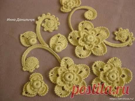 FLOWER MK IN EQUIPMENT of the IRISH LACE FROM INNA DANILCHUK\/VYAZANIYE hook \/ Knitting by a hook for beginners
