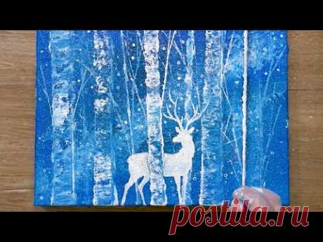 String Pull Painting / White Deer / Acrylic Painting Technique - YouTube