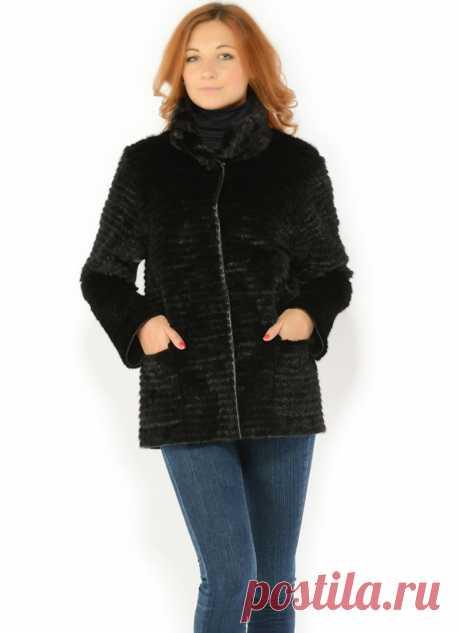 Меховой пиджак из черной норки  Красивое сочетание черного трикотажа и черной норки.  Воротник-стойка защитит от ветра.   Длина пиджака до бедер - 71-75 см.