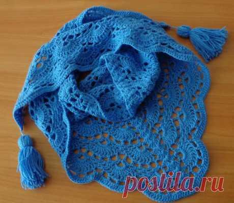 БАКТУС КРЮЧКОМ. РАЗМЕРЫ (104см/43см)   #шаль@knittinglove  #от_подписчиков@knittinglove