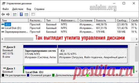Управление дисками Windows 10: как открыть