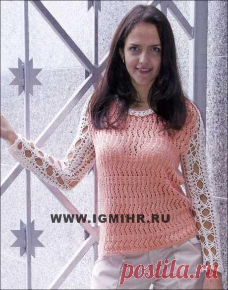 Комбинированный пуловер бело-розового цвета. Спицы и Крючок