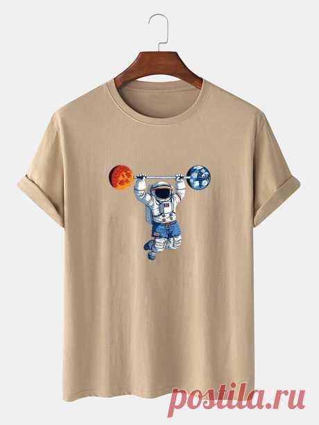 100% Cotton Mens Astronaut Print Round Neck Short Sleeve Funny T-Shirts - US$12.99