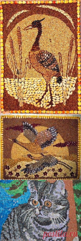 Мозаичные картины из круп, семян, специй и кофе.