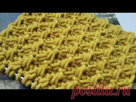Вяжем рельефный узор с перехлёстами 🍂 knitting pattern.