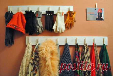 Организованное хранение шарфов и перчаток. Модная одежда и дизайн интерьера своими руками.