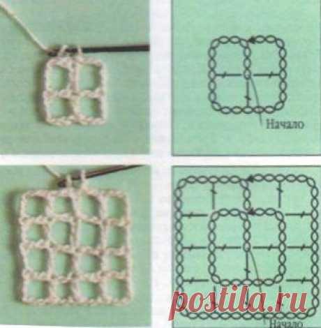 Основы филейного вязания. Вязание квадрата от середины / Нестареющая классика