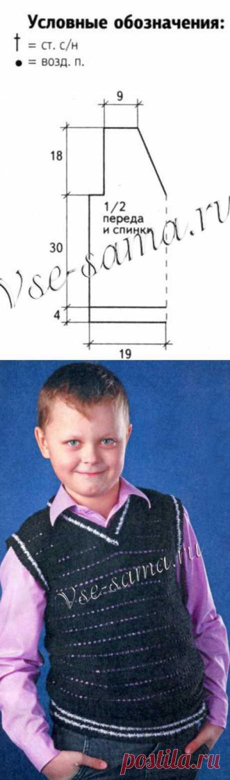 Черный жилет крючком - Детские жилеты, безрукавки крючком