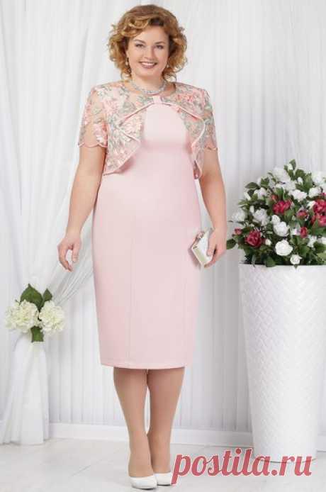 Платье Ninele, пудра (модель 5621) — Белорусский трикотаж в интернет-магазине «Швейная традиция»
