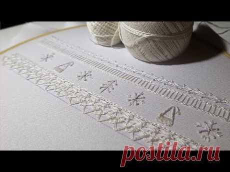 Белая Вышивка: Бордюр для новогодней скатерти   Border embroidery   White Embroidery