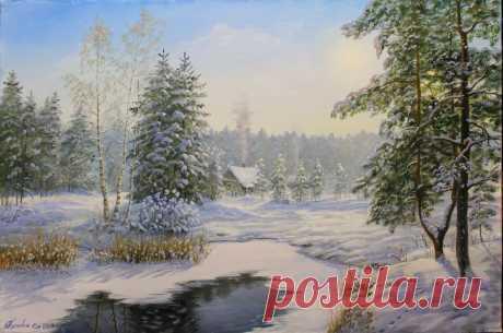 Узоры от Гжели На пышных лапах сизых елей Снег виснет, словно мишура. Лес стал одет в убор от Гжели, Где бродит зимушка с утра.