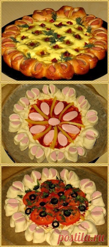 Праздничная нарядная пицца! Дрожжевое тесто - 300 гр., + Ваши любимые сосиски - 6 шт., + кетчуп, + ...