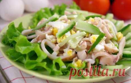 Рецепт салата из кальмаров с яйцом. Очень вкусный салат с кальмарами