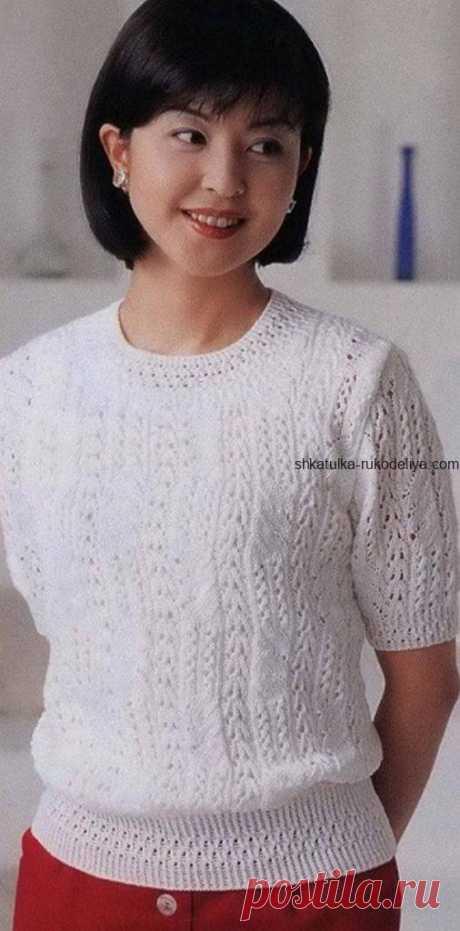 Вязаный пуловер спицами белого цвета. Пуловер спицами от японских мастериц   Шкатулка рукоделия. Сайт для рукодельниц.
