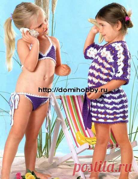 Туника и бикини для девочки крючком.