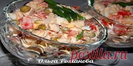 Салат с куриной грудкой, помидорами и зелёным горошком   KaifZona.Ru