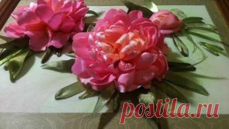 Вышивка лентами. Пион. Часть 1 - вышивка цветка пиона.