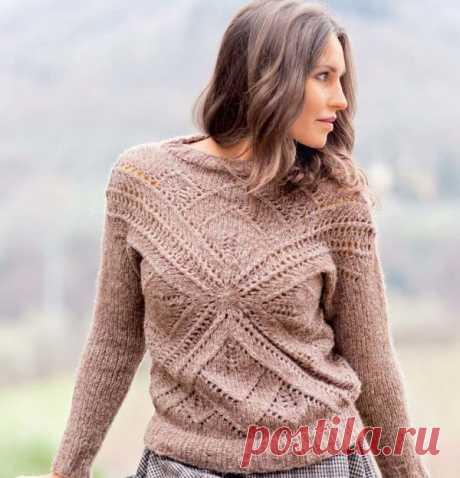 Пуловер с ажурным мотивом - схема