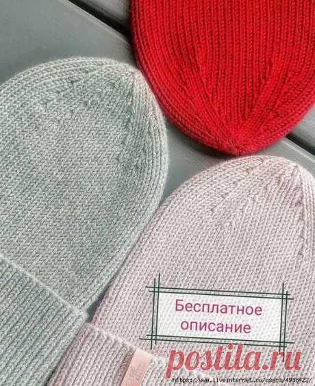 Шапочка спицами с красивой макушкой, Вязание для женщин