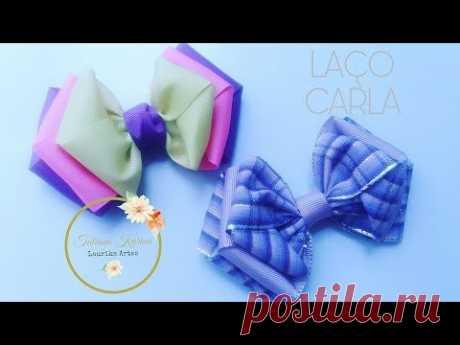 Laço Carla (Laço de fita de gorgurão) by Tatiana Karina DIY\/TUTORIAL\/PAP\/Ribbon Bow