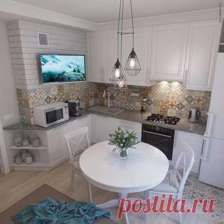 Уютный дизайн небольшой кухни.