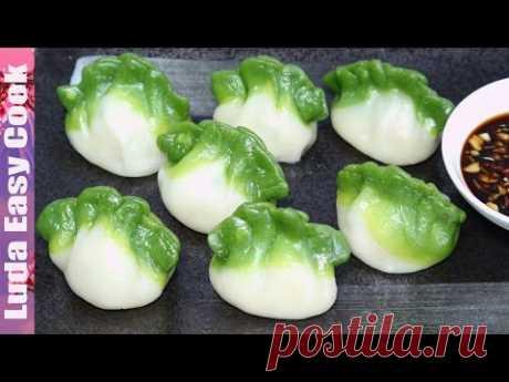 Los PELMENI sabrosos DE COLOR la receta los PELMENI Chinos a un par - Spinach Green Dumpling làm Bánh há cảo