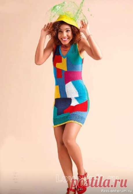 Цветной сарафан с абстрактным рисунком спицами | Вязание для женщин спицами. Схемы вязания спицами Описание моделиРазмеры: 34/36 (38/40) 42/44Вам потребуется: пряжа (97% хлопка, 3% полиэстера; 125 м/50 г) - по 100 (150) 150 г серо-голубой и зеленой, по 100 г цв. морской волны и красной, по 50 (100) 100 г желтой, бирюзовой и розовой, 50 (50) 100 г белой; спицы № 4,5; круговые спицы №...