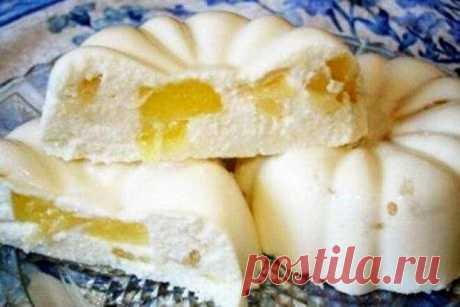 Творожное бланманже с ананасом.